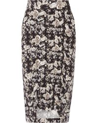 Zero + Maria Cornejo - Black Gemma Ruched Printed Stretch-crepe Skirt - Lyst