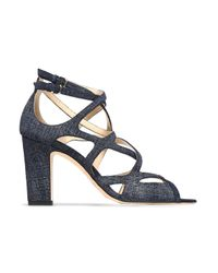 Jimmy Choo Blue Dillan 85 Cutout Denim Sandals Mid Denim