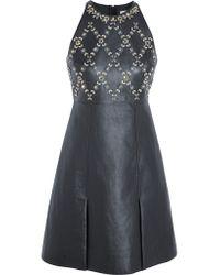Erdem Blue Crystal-embellished Leather And Wool-crepe Mini Dress