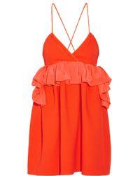 Victoria, Victoria Beckham - Orange Ruffled Silk-trimmed Wool Mini Dress - Lyst
