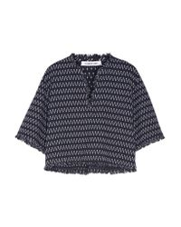 Elizabeth and James Blue Laurie Fringed Stretch-knit Top