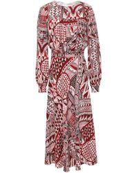 Stella Jean Gathered Silk Crepe De Chine Midi Dress Crimson
