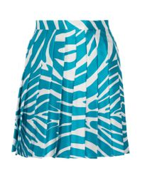 Versus - Blue Pleated Zebra-print Silk Skirt - Lyst