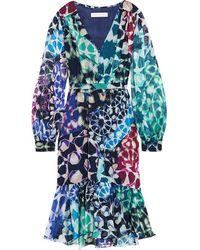 Matthew Williamson - Blue - Printed Silk-chiffon Dress - Turquoise - Lyst