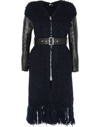 Sacai | Black Luck Leather-paneled Cable-knit Wool Coat | Lyst
