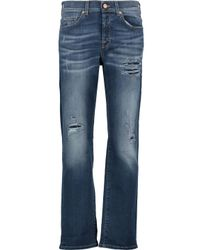 7 For All Mankind Blue Jared Distressed Boyfriend Jeans