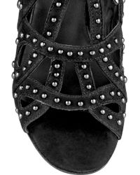 Maje - Black Studded Suede Sandals - Lyst