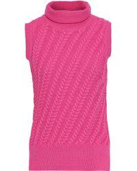 10 Crosby Derek Lam Pink Cable-knit Cotton-blend Turtleneck Sweater Fuchsia