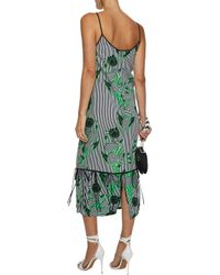 Lela Rose - Green Convertible Bow-detailed Printed Twill Midi Dress - Lyst