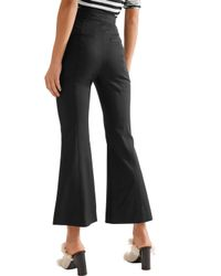 Proenza Schouler - Black Cropped Stretch-wool Flared Pants - Lyst