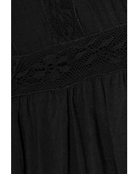 Love Sam - Woman Lila Crochet-trimmed Broderie Anglaise Voile Blouse Black - Lyst