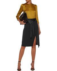 Halston Heritage - Black Wrap-effect Satin-paneled Crepe Skirt - Lyst