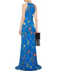 Emilio Pucci Blue Gathered Printed Stretch-jersey Gown