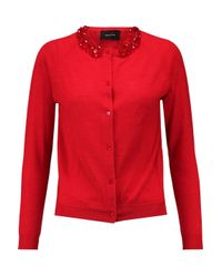 Simone Rocha Red Crystal-embellished Merino Wool, Silk And Cashmere-blend Cardigan