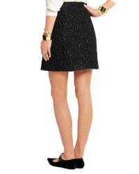 Carven - Black Matelassé Satin Mini Skirt - Lyst