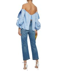 Johanna Ortiz - Woman Caravan Off-the-shoulder Bow-embellished Cotton-poplin Blouse Light Blue - Lyst