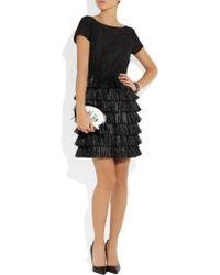 Boutique Moschino | Black Raffia-trimmed Cotton And Silk-blend Dress | Lyst