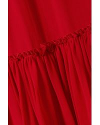 Giambattista Valli Gathered Silk-chiffon Midi Skirt Crimson