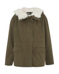 Yves Salomon Woman Shearling-paneled Cotton-twill Jacket Army Green