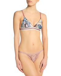 LoveStories - White Printed Stretch-jersey Soft-cup Triangle Bra - Lyst