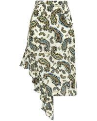 ROKH White Asymmetric Ruffled Printed Silk Crepe De Chine Mini Skirt Ivory
