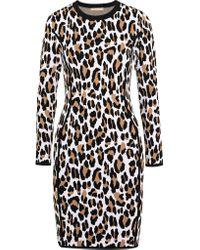 Michael Kors Black Long-sleeve Animal-print Sheath Dress