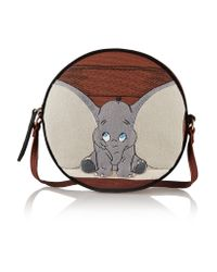 Olympia Le-Tan Brown Dumbo Ears Dizzie Embroidered Cotton-canvas Shoulder Bag