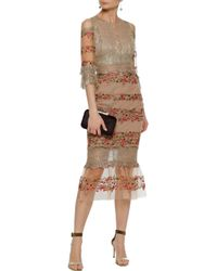 Marchesa notte Cold-shoulder Metallic Lace And Embroidered Tulle Midi Dress