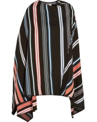 KENZO | Black Striped Wool-blend Poncho | Lyst