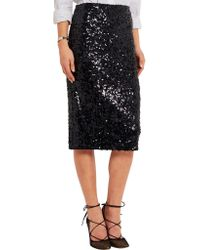 By Malene Birger | Black Poliio Sequined Satin-jersey Pencil Skirt | Lyst