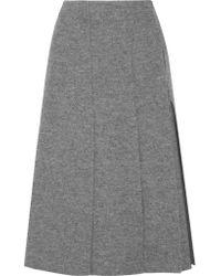Proenza Schouler   Gray Pleated Boiled Wool Wrap Midi Skirt   Lyst