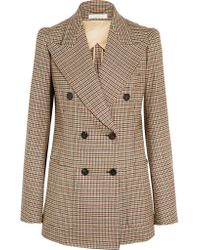 Chloé Brown Houndstooth Double-breasted Stretch-wool Blazer