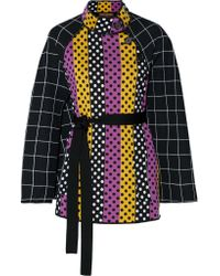 Duro Olowu Black Belted Intarsia Wool Cape