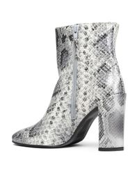 Stuart Weitzman Gray Woman Snake-effect Leather Ankle Boots Animal Print