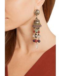 Etro - Metallic Gold-plated Multi-stone Tassel Earrings - Lyst