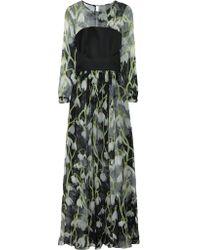 Matthew Williamson | Green Floral-print Pleated Silk-chiffon Gown | Lyst
