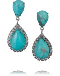 Elizabeth Cole | Blue Faye Silver-tone, Swarovski Crystal And Howlite Earrings | Lyst
