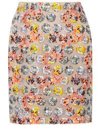 Prabal Gurung Natural Embroidered Tulle Mini Skirt