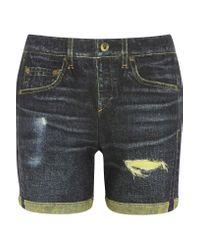Rag & Bone   Blue The Boyfriend Printed Cotton-terry Shorts   Lyst