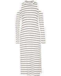 Splendid - White Envelope Cold-shoulder Striped Stretch-modal Midi Dress - Lyst
