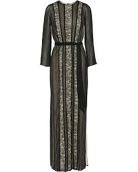 Alice + Olivia | Black Kye Lace-paneled Georgette Maxi Dress | Lyst