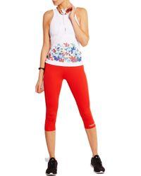 Adidas By Stella McCartney White Run Cutout Printed Climacool® Stretch Tank