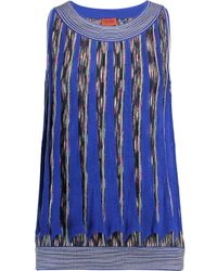 Missoni Blue Crochet-knit Wool-blend Tank