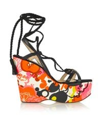 Jimmy Choo Black Pearl Floral-print Faille, Leather And Suede Wedge Sandals