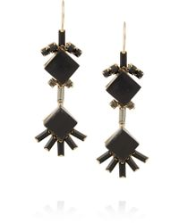 Marni | Black Gold-plated, Horn And Crystal Earrings | Lyst