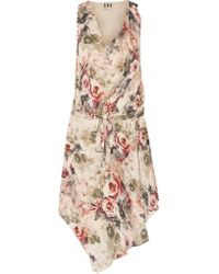 Haute Hippie - Pink Floral-print Silk Mini Dress - Lyst