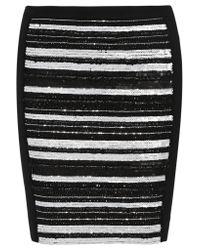 Haute Hippie - Black Embellished Stretch-ponte Mini Skirt - Lyst