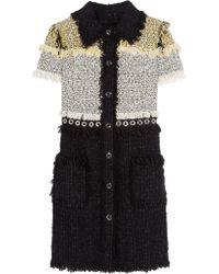 Lanvin | White Fringed Bouclé-tweed Mini Dress | Lyst