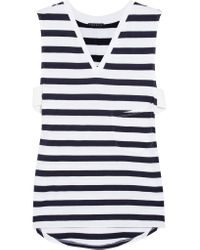 Theory | Blue Crelle Striped Cotton-jersey Top | Lyst