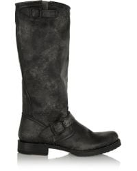 Frye | Black Veronica Distressed Leather Boots | Lyst